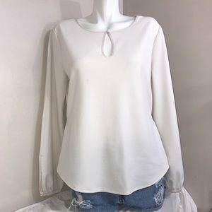 Ann Taylor All White Ruffled Long Sleeve Blouse
